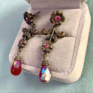 ❤️5 for $15 Avon Red Crystal Flowers Earrings